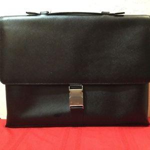 Calvin Klein Saffiano Leather Black Briefcase